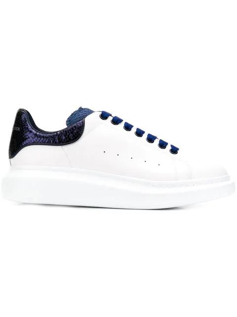 Alexander Mcqueen Men's Oversized Colorblock Leather Low-Top Sneakers, White/Blue In 9095 Whi Blunavy