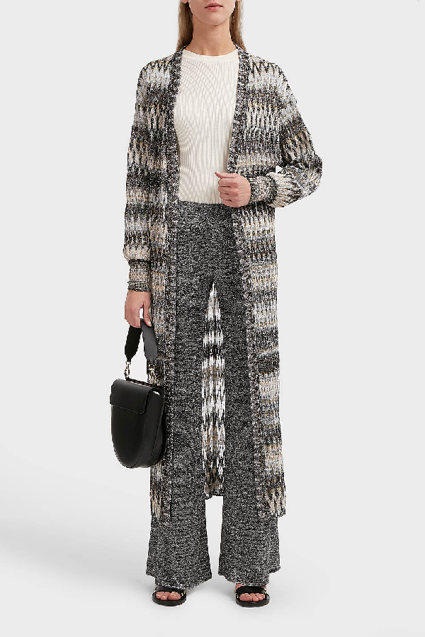 3a948b21795 Missoni Zigzag Lame Long Cardigan In Silver