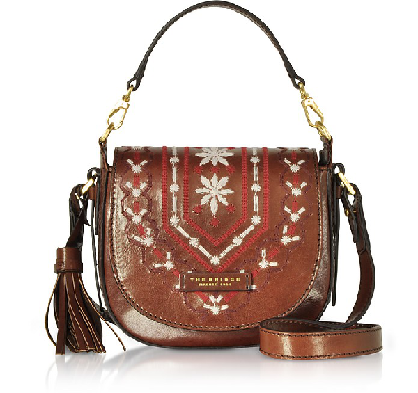 The Bridge Fiesole Embroidered Leather Shoulder Bag In Brown