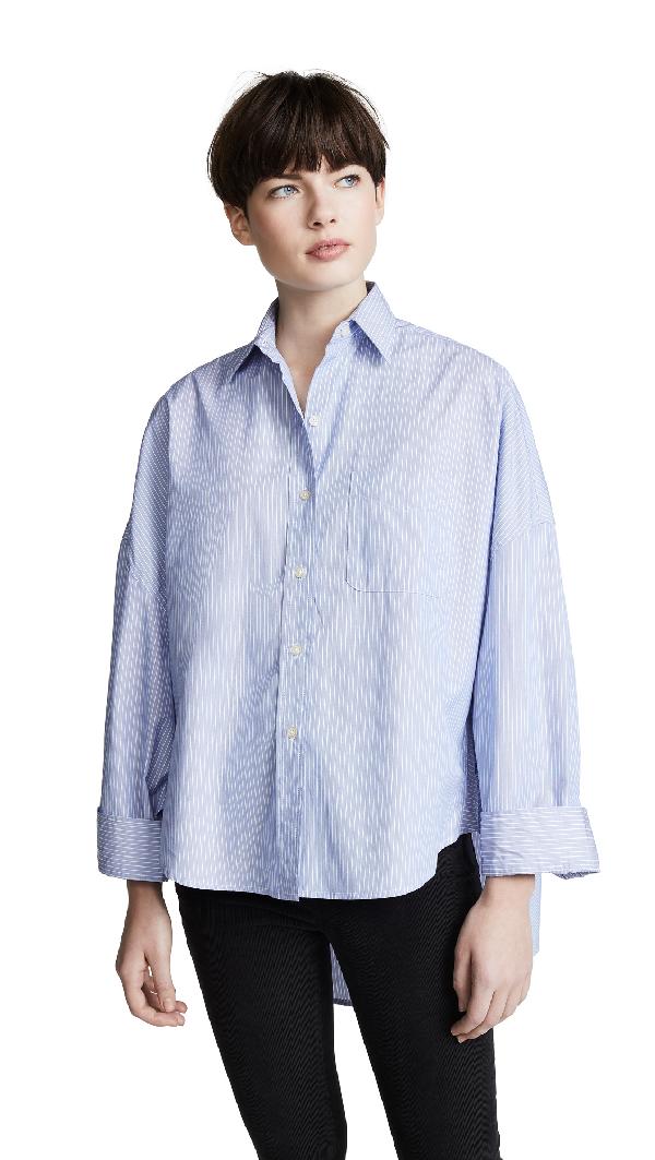 0926011f72 R13 Oversized Long Sleeve Striped Shirt In Blue Stripe | ModeSens