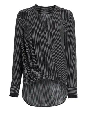 b7b52776c9dd9 Rag   Bone Victor Silk Wrap Blouse In Black White Stripe