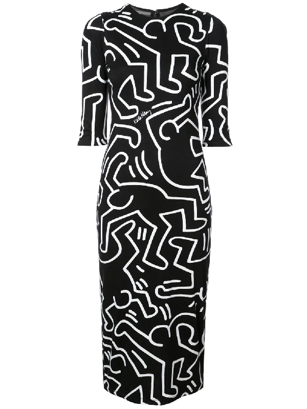 73c8798e9 Alice And Olivia Keith Haring X Alice + Olivia Delora Fitted Crewneck Dress  In Lg Dancing