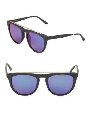 Smoke X Mirrors Road Runner 53Mm Browline Sunglasses In Matte Black