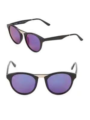 Smoke X Mirrors Black Betty Acetate/Stainless Steel Round Sunglasses In Black/Gold