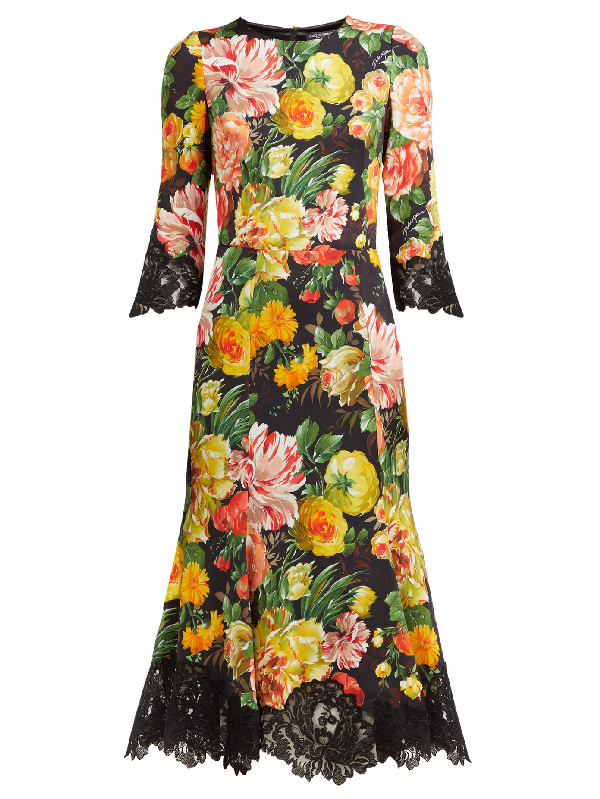 Dolce & Gabbana Floral-print Lace-trimmed Cady Midi Dress In Black