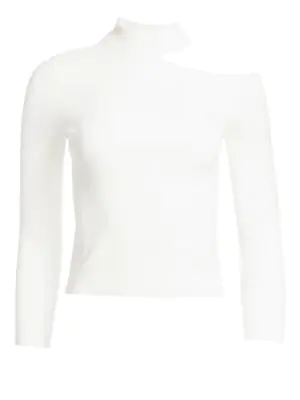 A.L.C Sonny Open Shoulder Rib-Knit Sweater In White