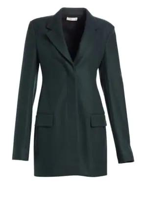 The Row Cennor Wool & Silk Jacket In Dark Peacock Green