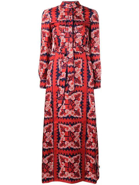 Valentino Bandana-Print Silk-Twill Maxi Dress In Red