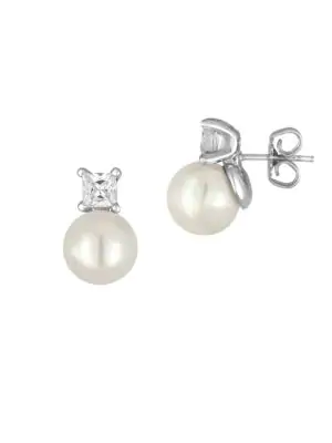 Majorica 10Mm White Round Pearl & Crystal Stud Earrings In Gold
