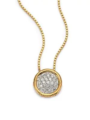 John Hardy Bamboo Diamond & 18K Yellow Gold Small Round Pendant Necklace