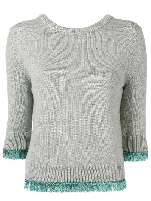 8eb0f4c3ed670f ChloÉ 3/4-Sleeve Scoop-Back Cashmere Sweater W/ Fringe Hem In Grey ...