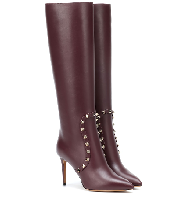 Valentino Rockstud Leather Knee-High Boots In Red