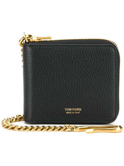 Tom Ford Chain-embellished Full-grain Leather Zip-around Wallet In Black