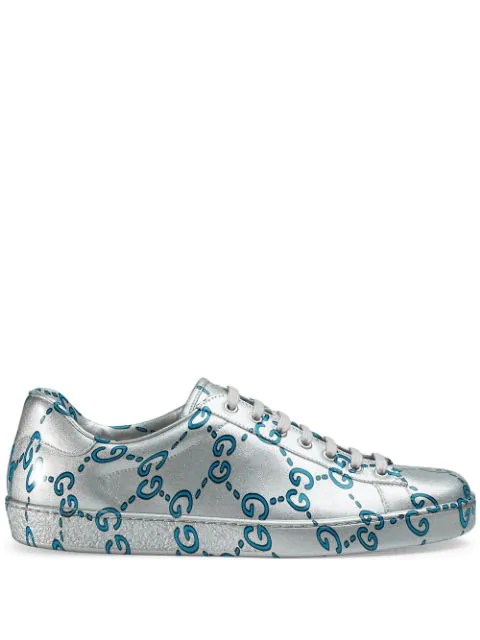 Gucci Men's Ace Gg Coated Leather Sneakers In Silver