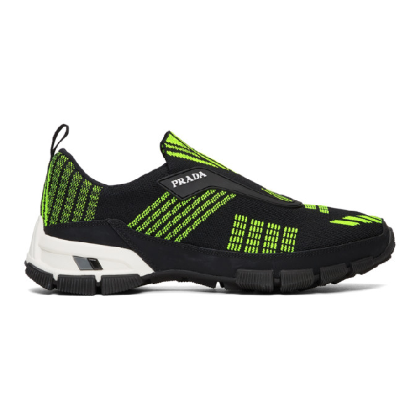 Prada Black And Neon Green Crossection Knit Sneakers In F0o5k Ne/gi