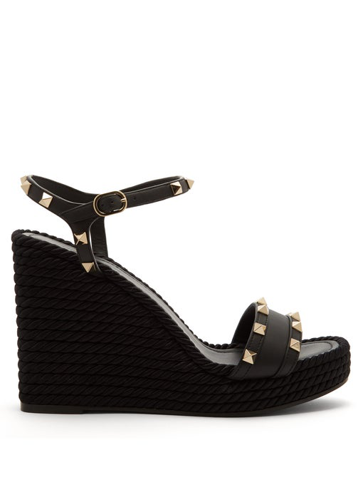 c7e9de897cd Rockstud Torchon Leather Espadrille Wedge Sandals in Black