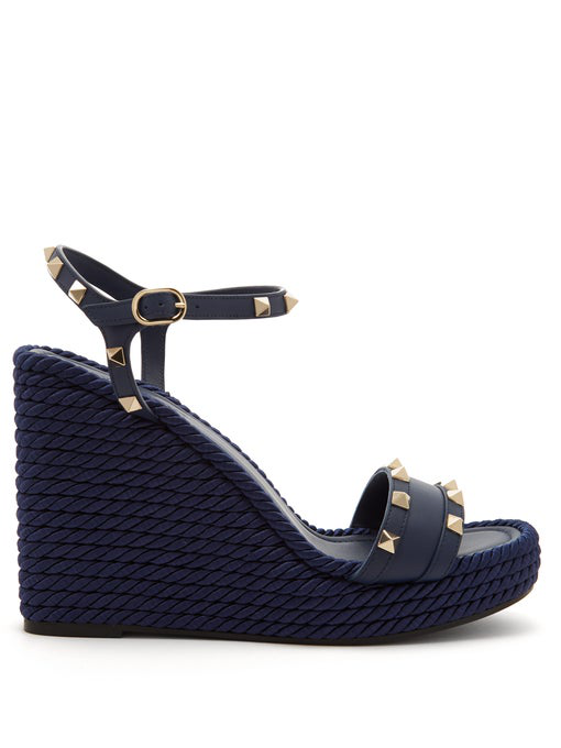 eae45a87adcd1 Valentino Rockstud Torchon Leather Espadrille Wedge Sandals In Navy ...