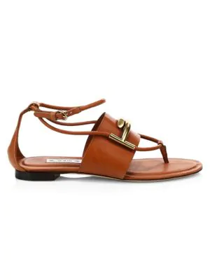 Tod's Double-t Leather Thong Sandals In Brown