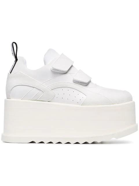 Stella Mccartney Eclypse Faux Leather-Trimmed Faux Suede Platform Sneakers In White