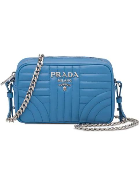 Prada Diagramme Leather Cross-Body Bag In Blue