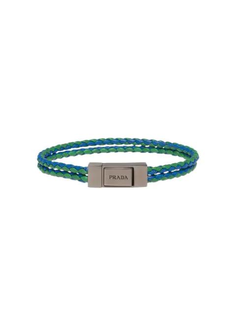 Prada Braided Leather Wrist Strap In Green