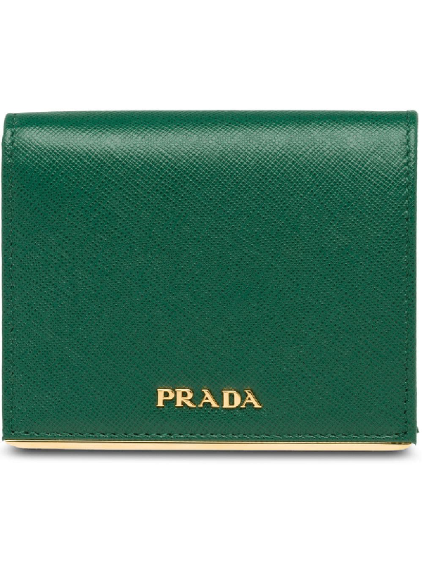 6d8df59159933 Prada Portemonnaie Aus Saffiano-Leder - GrüN In Green