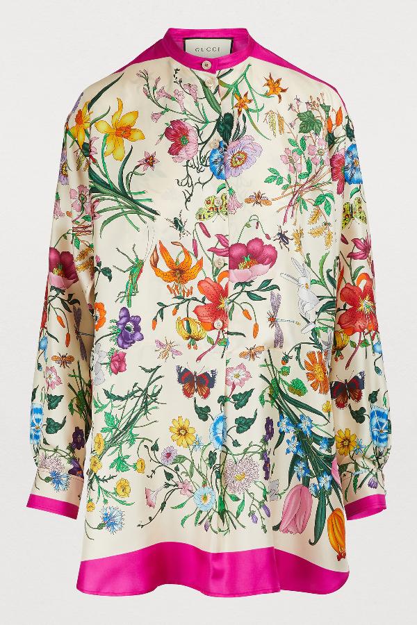 fb54797c Gucci Oversized Floral Print Silk Twill Shirt In Fuchsia Flora Print Silk
