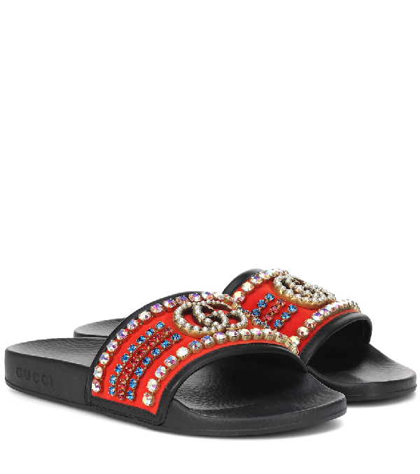 ba14fd69f761 Gucci Velvet Slide Sandal With Crystals In Black