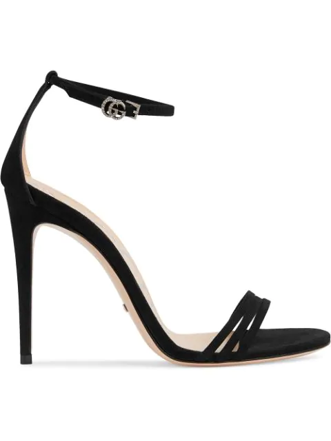 Gucci Crystal-Embellished Suede Sandals In Black