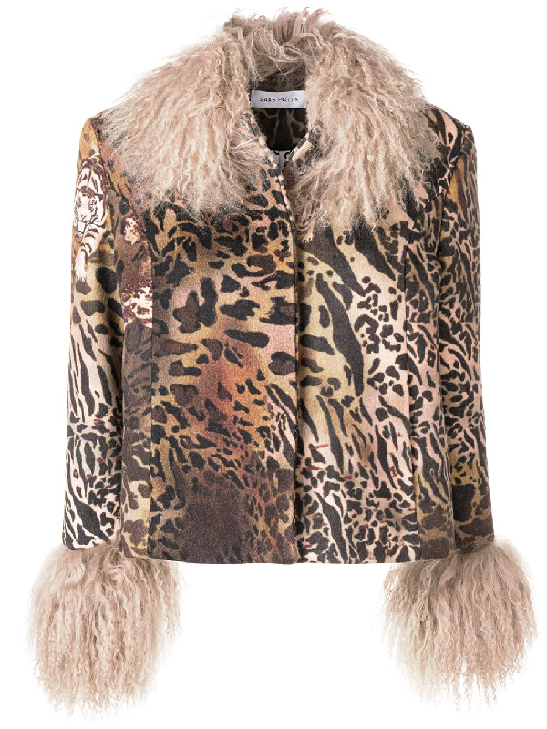 0688d77dfed Saks Potts Dorthe Animal Print Wool Jacket With Lambskin In Brown ...