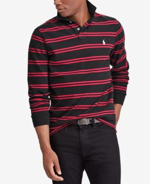 d52faa372 Polo Ralph Lauren Men s Custom Slim Fit Long-Sleeve Striped Polo In Polo  Black