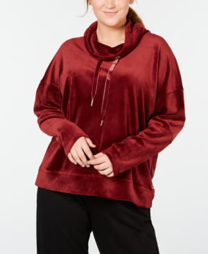 Calvin Klein Performance Plus Size Velour Cowl-Neck Top In Metallic Malbec