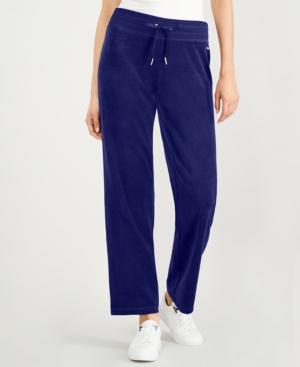 Calvin Klein Velour Drawstring Pants In Navy