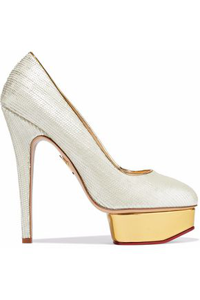 Charlotte Olympia Woman Dolly Scalloped Leather Platform Pumps Ivory