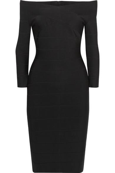 Herve Leger Off-the-shoulder Bandage Mini Dress In Black
