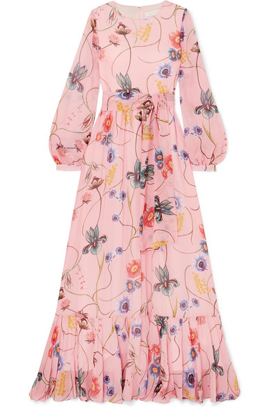 168452d1a3f0 Borgo De Nor Dianora Long-Sleeve Tie-Waist Floral-Print Silk Georgette Maxi