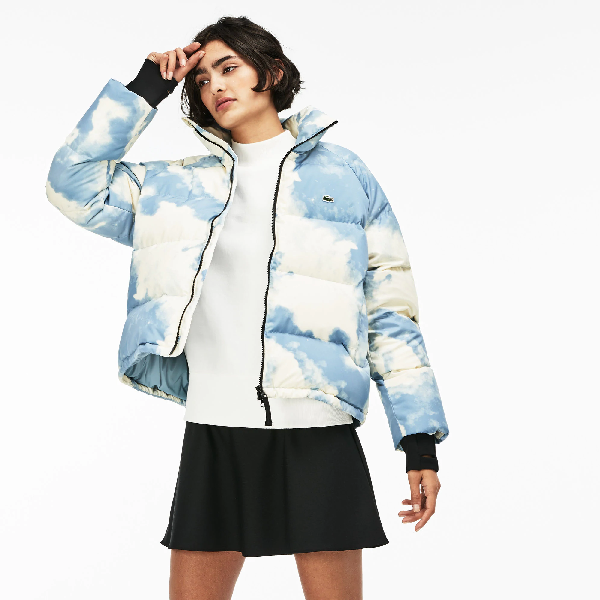 8e2bf14296 Lacoste Women's Live Short Water-Resistant Taffeta Quilted Jacket In White  / Light Blue