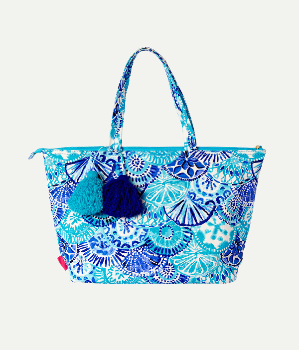 Lilly Pulitzer Palm Beach Zip Up Tote In Blue Oasis Tint Swim Shady