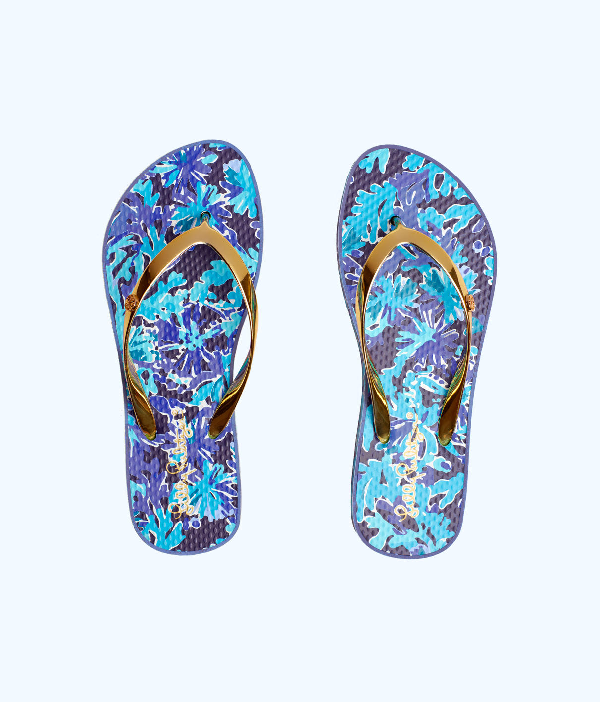 Lilly Pulitzer Pool Flip Flop In Bayside Blue Under The Moon Shoe