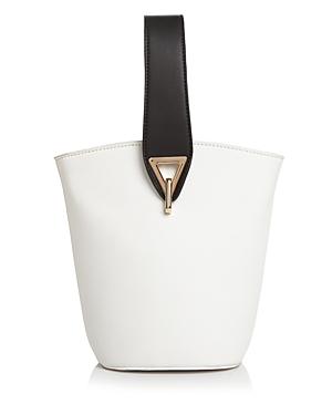 44b59682e05 Street Level Medium Color-Block Wristlet Bucket Bag In White/Black/Gold