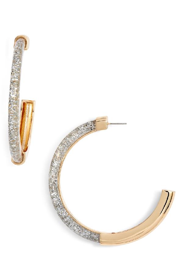 Rebecca Minkoff Glitter Front Large Hoop Earrings In Glitter/ Gold