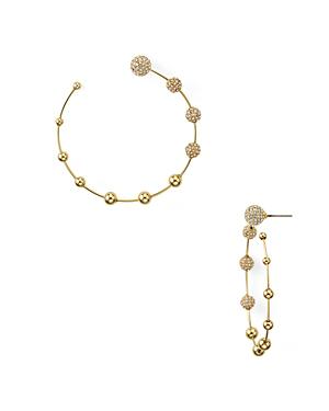 Rebecca Minkoff Pave Sphere Open Frontal Hoop Earrings In Gold