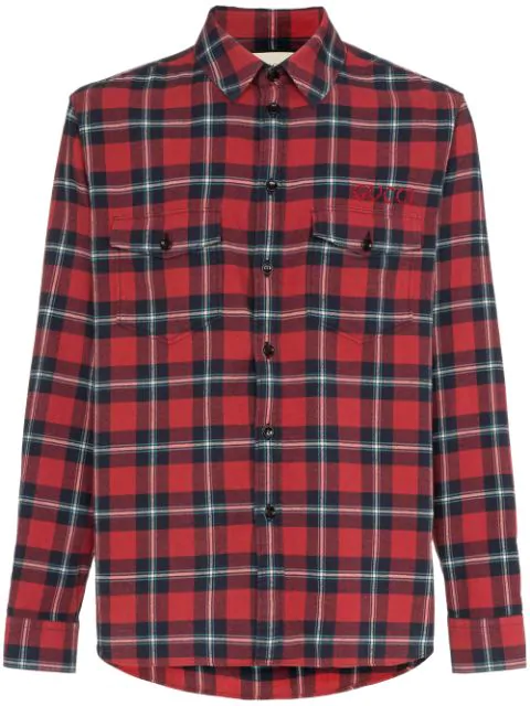 Gucci Oversized Embroidered Checked Cotton-Flannel Shirt In Red
