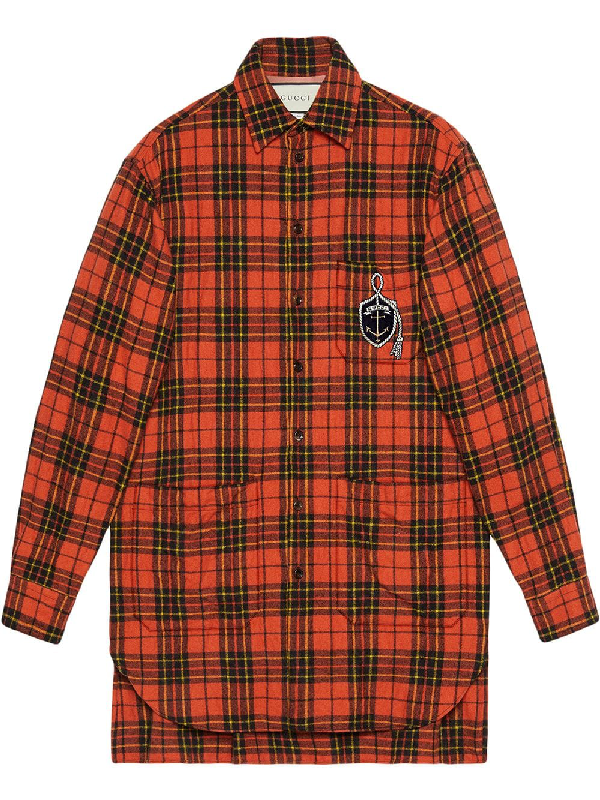524dcc8e Gucci Oversize Check Wool Shirt With Anchor In Orange | ModeSens
