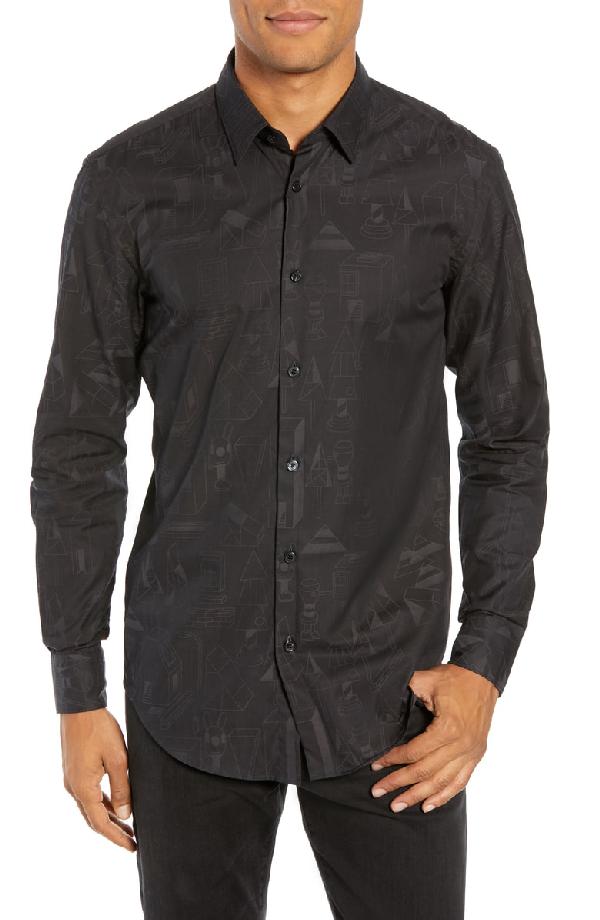 6af7165a Boss X Jeremyville Ronni Slim Fit Print Sport Shirt In Black | ModeSens
