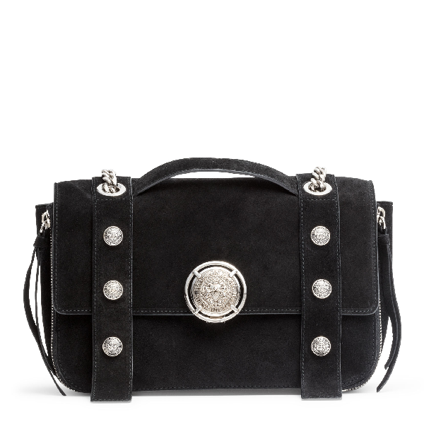 Balmain Black Suede Shoulder Bag