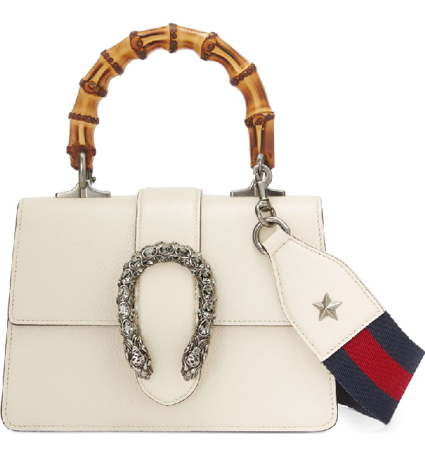 fe1cd16b4697 Gucci Mini Dionysus Leather Top Handle Satchel In Ivory/ Blue/ Red/ Black