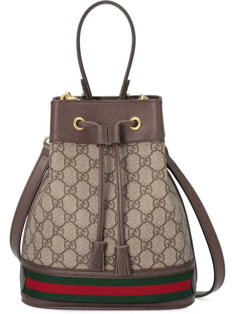 Gucci Ophidia Small Textured Leather-Trimmed Printed Coated-Canvas Bucket Bag In Neutrals