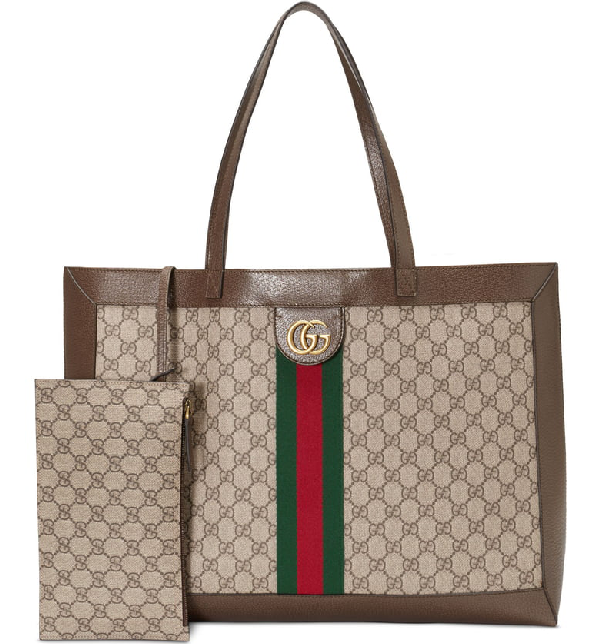 44a39f903fe Gucci Ophidia Soft Gg Supreme Canvas Tote Bag With Web In Beige Ebony  New  Acero