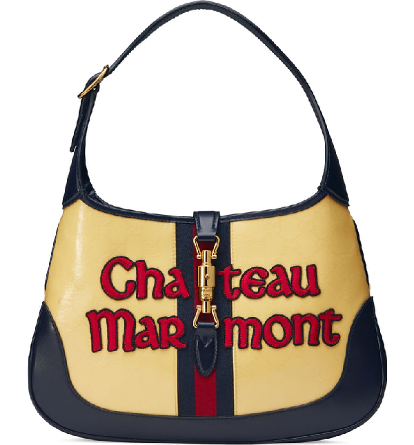 d3aa6e765f2 Gucci Medium Jackie Chateau Marmont Gg Hobo - Yellow In Straw Yellow/ Blu/  Red